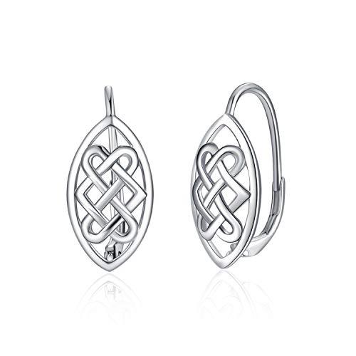 WINNICACA Celtic Knot Earrings Sterling Silver Leverback Earrings Jewelry for Women Teens Birthday Gifts