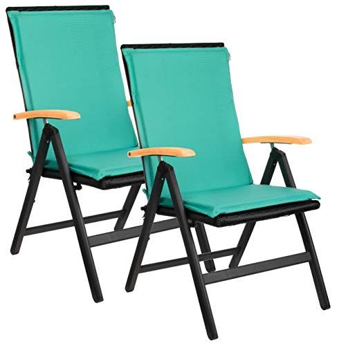 Brandsseller Juego de 2 cojines para sillas de jardín, aprox. 50 x 110 cm, color turquesa