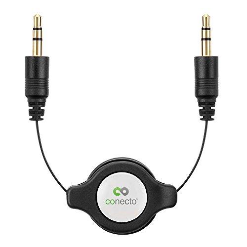 conecto CC20086 Aufrollbares Audio Stereo Aux Verbindungskabel Klinkenkabel, 3,5mm Klinkenstecker mit Integrierter Spule, 0,8m, schwarz