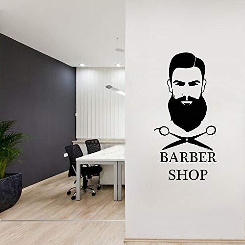 Salón de belleza pegatinas de pared arte tatuajes de pared mural diseño de habitación peluquería tijeras barba hombre papel tapiz