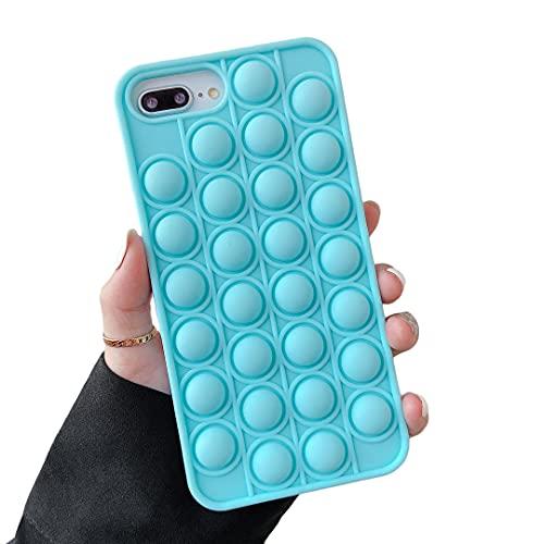 Cocomii Push Pop Fidget Toy iPhone 8 Plus/7 Plus/6 Plus Case, Slim Soft TPU Push Pop Bubble Fidget Sensory Toy Anxiety Stress Bumper Cover Compatible with Apple iPhone 8 Plus/7 Plus/6 Plus (Blue)