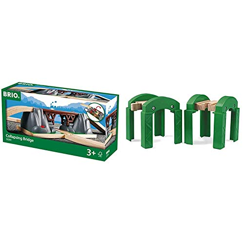 BRIO World - 33391 Collapsing Bridge | 3 Piece Toy Train Accessory for Kids Age 3 and Up & World - 33253 Stacking Track Supports | 2 Piece Toy Train Accessory for Kids Age 3 and Up