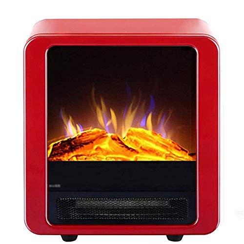 FTFTO Living Equipment Estufa eléctrica para Chimenea 2000W con Control de termostato Ajustable y Efecto Llama de Fuego Estufa eléctrica portátil de leña Efecto Dorado