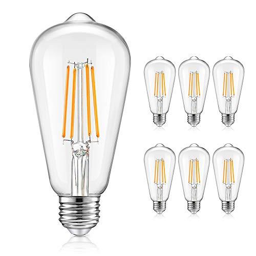 6-Pack Vintage Dimmable Edison LED Light Bulbs 100W Equivalent, E26 Base ST64/ST21 8W LED Filament Bulbs, 2700K Warm White, 1200Lumens, Antique Clear Glass Light Bulbs for Home, Reading, Bathroom