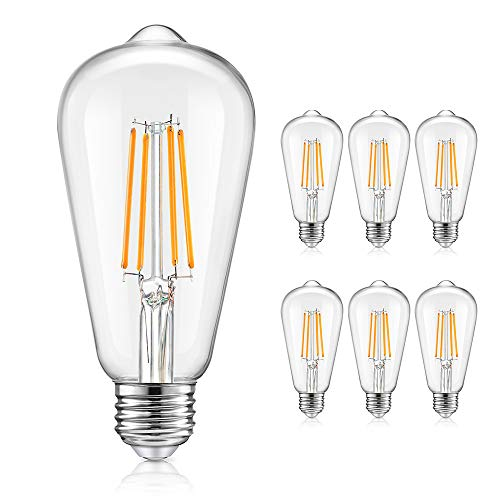 Vintage LED Dimmable Edison Light Bulbs 100W Equivalent, 1200Lumens, E26 8W LED Filament Bulbs, 2700K Warm White, ST64/ST21 Antique Clear Glass Bulb for Home, Reading, Bathroom, 6-Pack