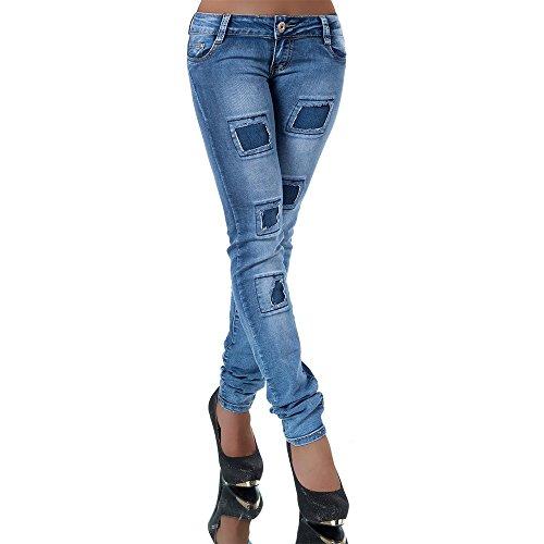 N281 Damen Jeans Hose Corsage Damenjeans High Waist Röhrenjeans Hochbund