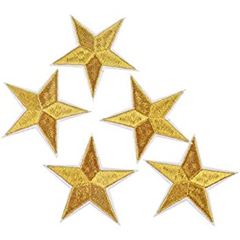 LOT 3 ECUSSON PATCH THERMOCOLLANT ETOILE JAUNE 4,5 X 4,5 CMS YELLOW STAR