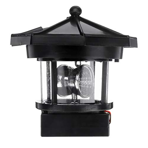 MYAMIA Solarbetriebener Leuchtturm Led-Rotationslicht Gartenbeleuchtung Im Freien Dekor