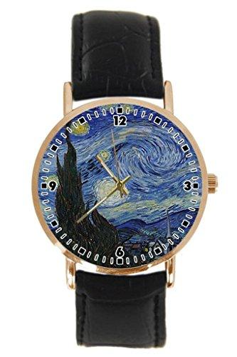 The Starry Night by Vincent Van Gogh - Reloj de pulsera para hombre y mujer (piel sintética), color dorado