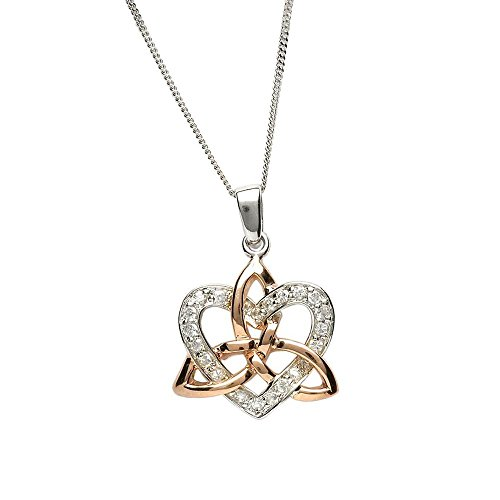 Celtic Necklace Rose Gold Trinity Knot Sterling Silver Heart Pendant Irish Made
