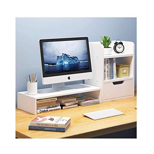 HyiFMY Madera Desktop Bookshelf Disponible Organizador Monitor de computadora Soporte con Soporte de cajón Estante de Almacenamiento Estante de exhibición Encimera decoración de Libros (Color: D)