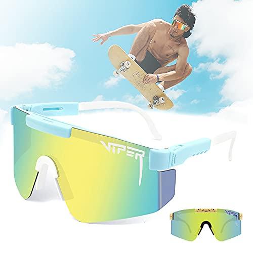 CWWHY Gafas de sol deportivas, UV400 doble ancho polarizado, gafas de sol estilo deportivo, gafas de sol vintage aviador, para ciclismo, béisbol, correr, conducir, pesca, golf, esquí, C45