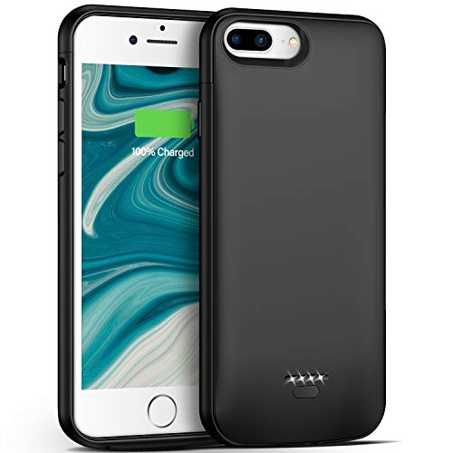 Battery Case for iPhone 7 Plus/8 Plus/6 Plus/6s Plus,5500mAh Portable Protective Charging Case Compatible with iPhone 7 Plus/8 Plus/6 Plus/6s Plus (5.5 inch) Rechargeable Extended Battery (Black)