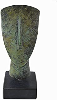 Cycladic bronze head ancient Greek reproduction miniature sculpture on marble