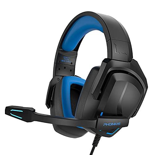 Cuffie da gioco cablate per PS4, PS5, PC, Nintendo Switch, laptop, H6 con audio surround 7.1, cuffie over-ear Pro con microfono a cancellazione del rumore e luce LED, Bass Surround (nero)
