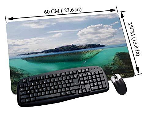 Gaming und Office Mauspad,Ocean Island Dekor, schwimmenden Felsen und Leuchtturm in kristallklarem Atlantik Wassernebel Naturfoto, blau grau we,mit vernähten Rändern und rutschfester unterseite60x35cm