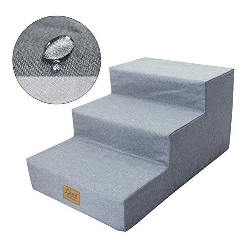 Escaliers pour Chiens Escaliers Pet Étanche avec Mousse pour Chiens Chats, Non-Slip Comfort 3 Étapes pour Ladder Lit Grand/Canapé, Gris Couverture Lavable (Size : 3 steps-60×40×30cm)