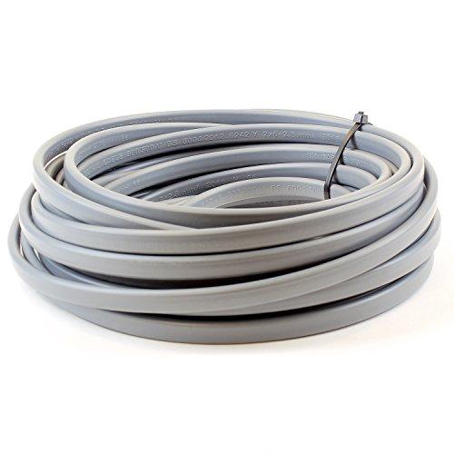 Alis DIY 2,5 mm tvilling och jord 6242Y platt grå elektrisk kabel – 5 meter klipplängd