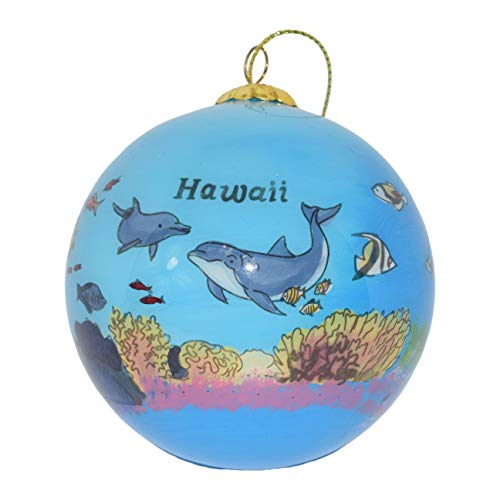Art Studio Company Hand Painted Glass Christmas Ornament - Ocean Reef with Dolphins and Fish - Hawaii
