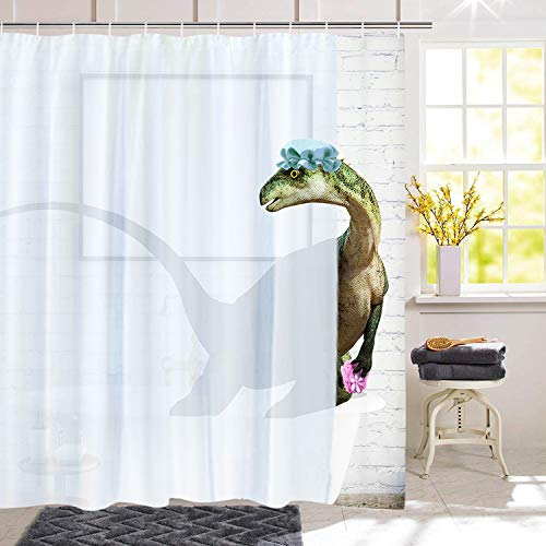BLEUM CADE Funny Bathing Dinosaur Shower Curtain Bathroom Curtain with 12 Hooks, Durable Waterproof Animal Fun Bath Curtain