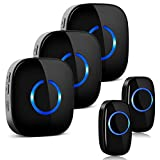 Wireless Doorbell, ELEPOWSTAR IP55 Waterproof Door Bell, Wall Plug-in Cordless Door Chimes kit with 1000ft Range, 58 Chimes & 5 Level Volume, LED Flash, 3 Receivers and 2 Transmitter