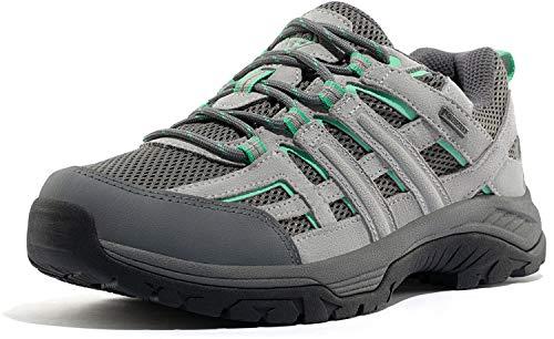 Wantdo Damen wasserdichte Wanderschuhe Outdoor Schneeschuhe Fashion Schuhe Leichte Joggingschuhe Schnüren Trekking Trainer Grau Grün 40