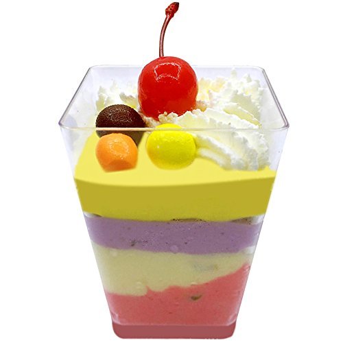 50Pcs Mini Small Plastic Cube Dessert Cup Sauce Starter Party Tableware Decor