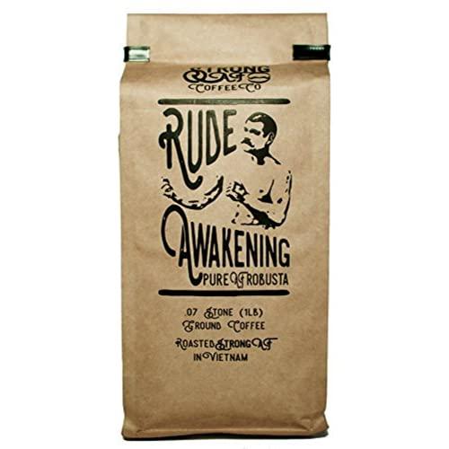 Coffee - Strong AF Coffee w/ 2x-3x Standard Caffeine - Rude Awakening Blend for French Press, Drip, Espresso (16 oz - Ground Bean)