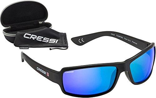 Cressi Ninja Floating - Gafas Flotantes Polarizadas para Deportes con una protección 100% UV Adultos Unisex, Negro/Lentes Azul Espejadas