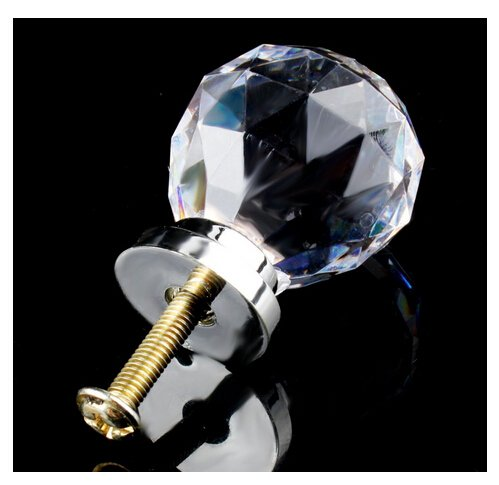 Revesun 20mm 3PCS Round Diamond Shape Crystal Glass Cabinet Knob Cupboard Drawer Pull Handle great for Cupboard, Kitchen and Bathroom Cabinets, Shutters Knobs-clear by Revesun