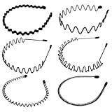 6 pièces élastique ondulés Spring Wave en unisexes métal Sports Cheveux Hoop Band Fille pour homme Bandeau accessoire (noir)