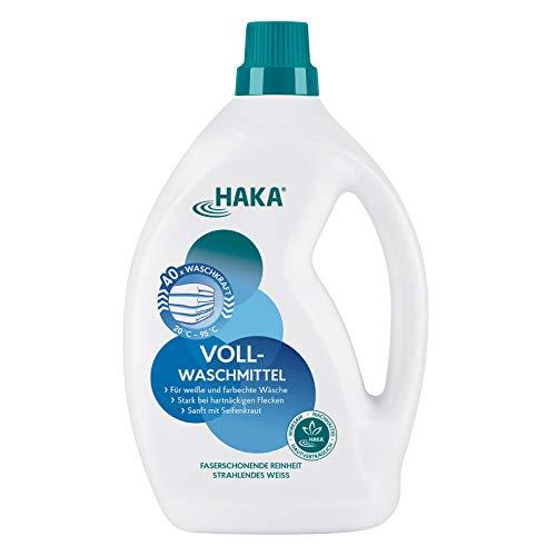 HAKA Vollwaschmittel I 2 Liter Flüssigwaschmittel I Universalwaschmittel für weiße, farbechte Textilien I 40 Waschladungen pro Flasche
