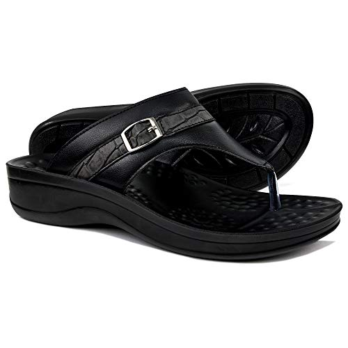 AEROTHOTIC Comfortable Arch Support Flip Flops for Women (US-Women-10, Mirage Black)