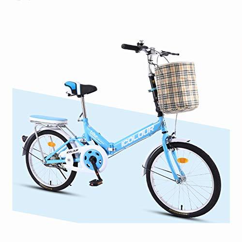 20 Zoll Klapprad 7 Gang Faltrad Fahrrad -Damenfahrrad mit V-Bremse Stoßdämpfungsfahrrad Super licht Herren Damen Student,13KG, Blue,A
