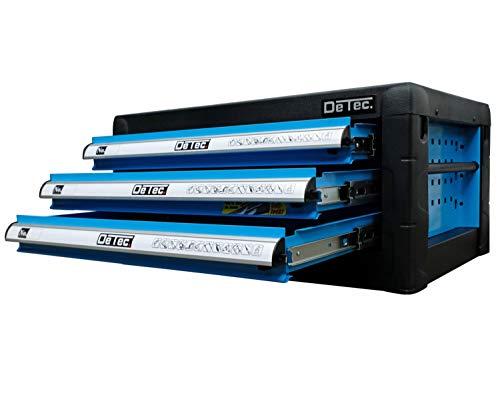 DeTec. Werkzeugkiste 2033 Carbon mit Werkzeug | Werkzeugkasten in blau | 3 Schubladen inkl. 129 tlg. Werkzeugsortiment - 4
