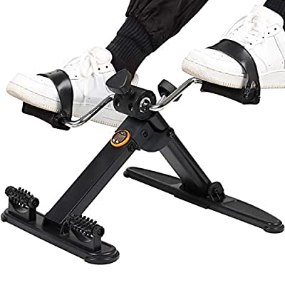 Folding Pedal Exerciser Portable Exercise Peddler for Legs and Arms with 2 Massage Rollers Under Desk Exercise Bike with Electronic Monitor