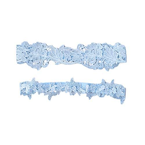 Amosfun Hochzeit Braut Strumpfband Lace Flower Bridal Strumpf Blumenornamente (blau)