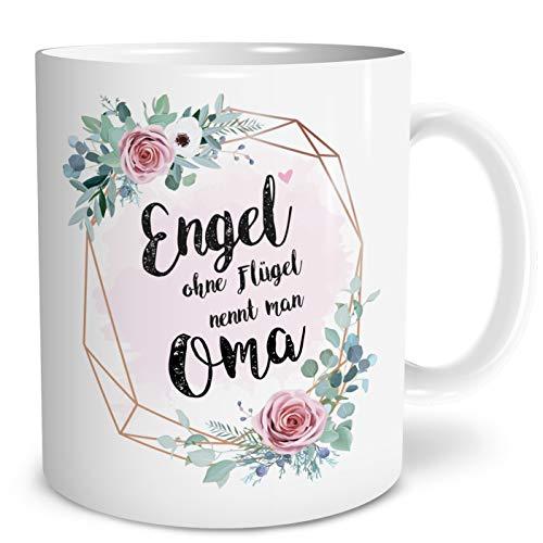 OWLBOOK Engel Oma Große Kaffee-Tasse mit Spruch im Geschenkkarton Geschenke Geschenkideen für Oma zum GeburtstagGeburt_&_Schwangerschaft