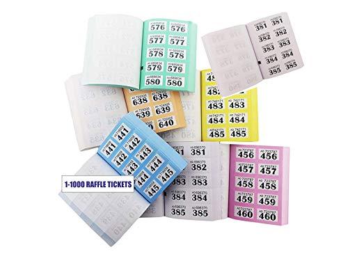 Pack van 10 garderobe en wafel tickets - 1-1000 Tombola teken genummerd liefdadigheid evenementen prijs trekken Lucky Draw-Sapphire Printers