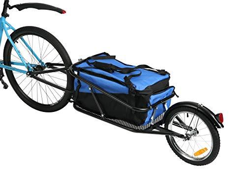 Fiximaster Einrad Fahrrad Frachtanhänger Stahlrahmen Gepäck Fahrradanhänger Transportanhänger Handwagen Tragfähigkeit 30 kg Mit wasserdichter Tasche 8002T Blau