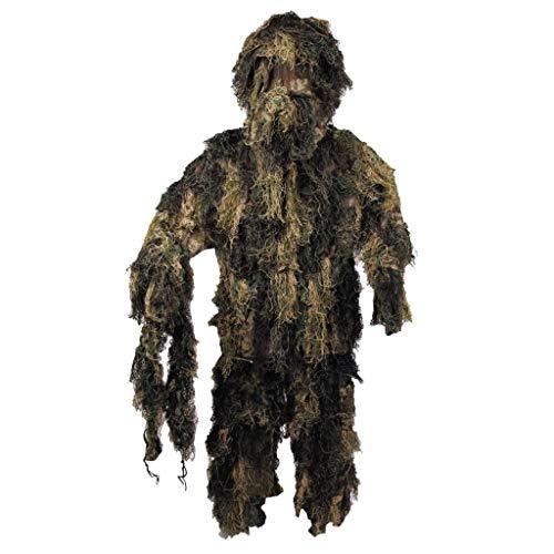 MFH Ghillie Suit Woodland - Traje de Camuflaje (Chaqueta, Pantalones, Gorro)