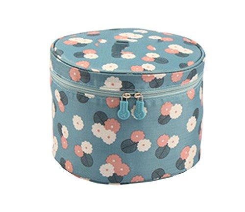 Sac De Stockage De Soutien-gorge Circulaire à Main Poche De Sac De Lavage Cylindrique Enveloppé Cosmétique Portable,Blue