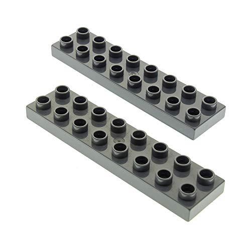 2 x Lego Duplo Bau Basic Platte neu-dunkel grau 2x8 Stein für Set 4785 4777 9217 5815 4960 9214 44524