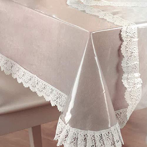 DecoHomeTextil Pey - Mantel protector de mesa transparente con punta de vinilo blanca, 0,15 mm, rectangular, 110 x 140 cm, lavable
