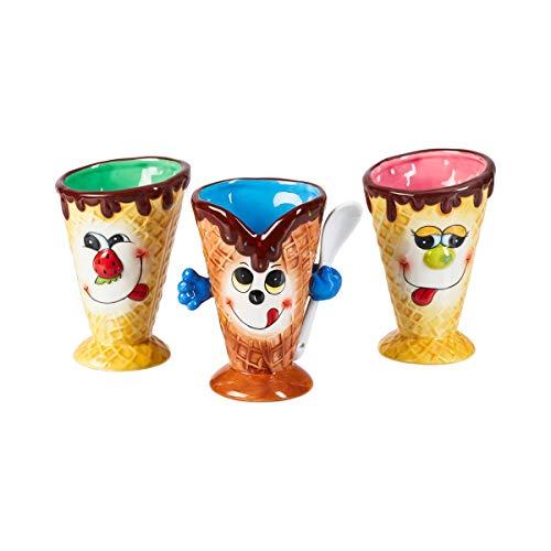 Schlemmer-Eisbecher, Eisbecher, Eisschale mit Gesicht, 3 Stück, Eistütenform, Steingut, 9,5 x 10 x 14 cm, Füllmenge 250 ml