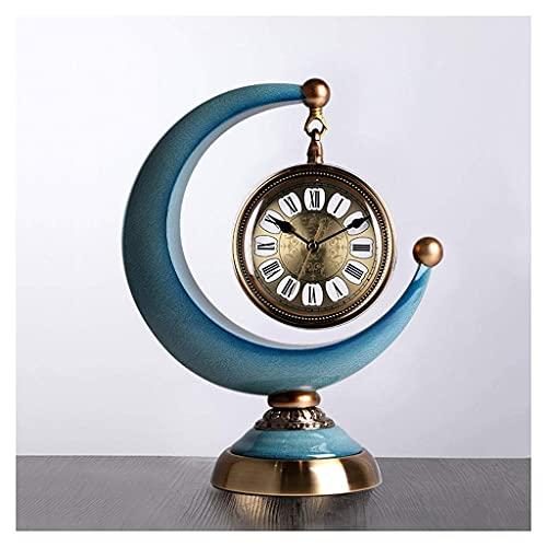 ZCZZ Reloj de Escritorio Reloj de Media Luna, Reloj de Escritorio Retro, Reloj de péndulo de Escritorio de Moda en la Sala de Estar, Decoración de Escritorio Reloj de Escritorio de Estilo Europeo