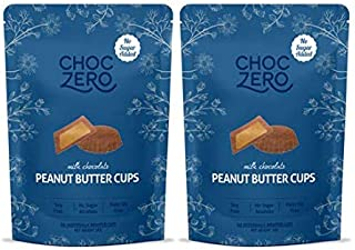 ChocZero's Milk Chocolate Peanut Butter Cups - NO ADDED SUGAR, KETO FRIENDLY, 2bags