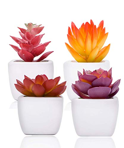 BOBOCAWA Fake Succulent Plants in Ceramic Pots - for Desk, Office, Bedroom, Living Room, and Home Decoration Set of 4 Artificial Succulents Fake Plants Included