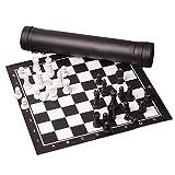 WYJJ Juego de ajedrez Enrollable PU de ajedrez de 51x51cm con Piezas de plástico Hips, Ideal para Jugadores de ajedrez al Aire Libre