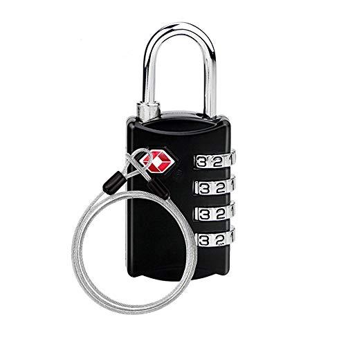 TSAロック ワイヤーロック 南京錠ワイヤー スーツケースの鍵 4桁ダイヤル式ロック 安心 防犯グッズ アメリカ安全運送局認定 旅行用 荷物スーツケース用 自転車鍵 ワイヤーロープ付き 1個セット ブラック